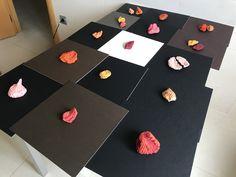 Serie de pequeñas estructuras de papel artesano reciclado