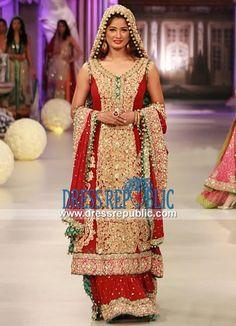 Deep Red Flared Wedding Sharara Outfit in Chiffon by Tabassum Mughal