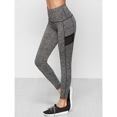 SheIn(sheinside) Knit Wide Waistband Leggings (90 SEK) ❤ liked on Polyvore featuring pants, leggings, grey, grey pants, stretchy pants, sport leggings, sports pants and gray leggings