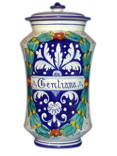 Deruta pharmacy jar. $225. Could I make room for just one more? They add so much color to a white kitchen.