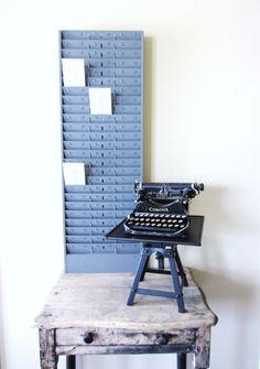 vintage industrial metal time card slot holder wall mount rack