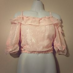 Cropped Light Pink Peasant Top Size: Small Tops