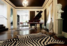 I'm trying to convince a client to paint her living room ceiling a shade significantly darker than her walls. She has the perfect 'palate' f. Dark Walls, Brown Walls, Light Walls, Unfinished Basement Ceiling, Dark Ceiling, Hallway Ceiling, Piano Room, Wall Colors, Paint Colors