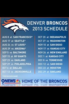 Denver broncos images 2013 printable denver broncos schedule 2013 schedule voltagebd Image collections