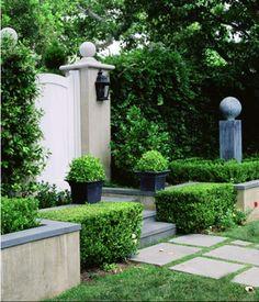Boxwoods and Hedges in the Garden Garden Pool, Garden Landscaping, Shade Garden, Herb Garden, Vegetable Garden, Garden Entrance, Garden Gates, Courtyard Entry, Formal Gardens