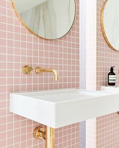Love this bathroom with blush pink tiles, paired with gold taps and home accessories. Very feminine but on trend bathroom. Interior, Pink Bathroom Furniture, Trendy Bathroom, Home Decor Trends, Bathroom Sets, Pink Bathroom Tiles, Bathroom Interior, Trending Decor, Pink Tiles