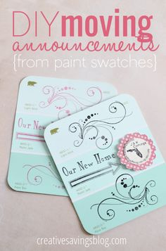 DIY Moving Announcements. Cute announcement cards!