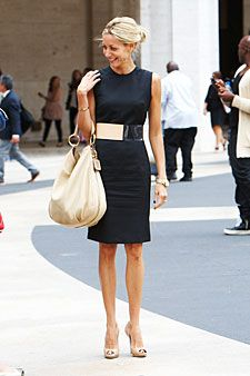 A great way to mix neutrals and the classic little black dress.