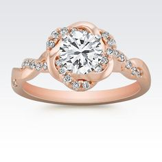 Infinity Rose Gold Engagement Ring with Diamond Twist Halo with Brilliant Round Diamond from Shane Co.