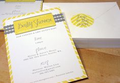 Love a gray and yellow color scheme for a baby shower and love the envelope closures!