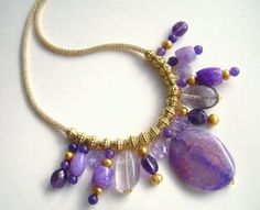 Amethyst Necklace, Purple Agate Jewelry, Gold Jewelery, Gemstone Jewellery, Rainbow Fluorite, Purple Quartz, Gold Silver Silk