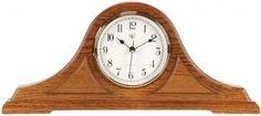 Radio-controlled Tambour Mantel Clock with Oak Finish