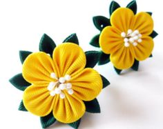 Kanzashi fabric flowers. Set of 2 ponytails. Yellow and green.