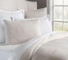 Belgian Flax Linen Contrast Flange Duvet , Full/Queen, Natural/White