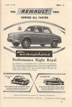 Renault Cars UK advert in The Motor, October 1956 by mikeyashworth, via Flickr