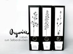 eiditierbare Ordnerrücken und Labels *organice* von Mary Papperslapp auf DaWanda.com