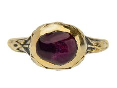 Rembrandt's Reign - Ruby Ring of Circa 1670. A remarkable survivor, this natural no-heat ruby ring is quintessentially seventeenth century (circa 1670). At the core a deep plum red ruby cabochon (during this period a more common shape than a faceted stone) is set deep within a well of 20k yellow gold.