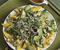 Avocado, Mango, and Pineapple Salad with Pistachios and Pickled Shallots