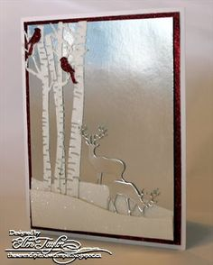 IO Die Blog Hop~Day Three:  Shiny Silver themed:  shiny silver background Deer in snow with birch trees & cardinals Simple but elegant
