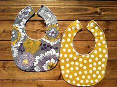Baby Bibs  Set of 2  Yellow Purple and Gray by SmallFreyDesigns, $16.00