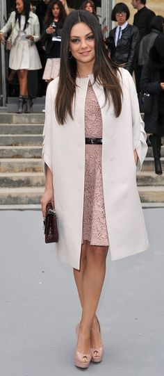 coat with mint lace - pw2 sophie duvann's wedding - morning -Mila Kunis // coat + dress(plat2-b)