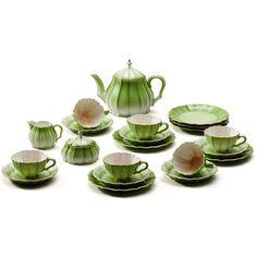 Asprey Melon Tea Set ($3,800) ❤ liked on Polyvore featuring home, kitchen & dining, teapots, purple tea set and purple teapot