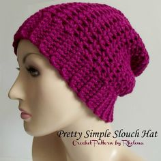 FREE crochet pattern for a Pretty Simple Slouch Hat. The hat is given in one size with instructions to modify to any size that you need.