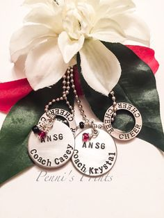 hand stamped, personalized cheer coach gifts. Coach gifts, cheer coach, cheer, cheer charm