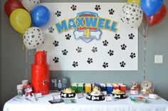 The most adorable ideas to have your very own Paw Patrol themed birthday party Third Birthday Boys, 4 Year Old Boy Birthday, Toddler Boy Birthday, Birthday Table, 4th Birthday Parties, Baby Birthday, Birthday Ideas, Paw Patrol Party Decorations, Cumple Paw Patrol