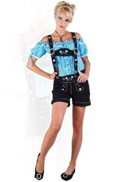 Stockerpoint Trachten Lederhose Jacky devil schwarz H-Träger Ledershort