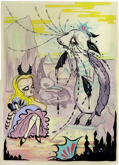 """""""A Mock Turtle's Story"""" Camille Rose Garcia - I already have her Snow White release, need to get the Alice book Lewis Carroll, Tim Burton, Adventures In Wonderland, Alice In Wonderland, Camilla Rose, Camille Rose Garcia, Alice Book, Mock Turtle, Pop Surrealism"""
