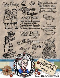 Easter Set 3 Vintage, Ephemera, Digital Stamps, Photography Overlays, Clipart, Digi,  Word Art Sentiments ID:NV-WA0049 By Nana Vic