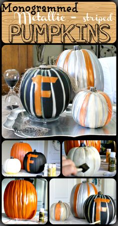 Make your own Monogrammed Metallic striped Pumpkins with tips and trick from Fresh Idea Studio Halloween Pumpkins, Halloween Crafts, Halloween Ideas, Halloween 2013, Happy Halloween, Autumn Decorating, Pumpkin Decorating, Decorating Ideas, Metal Pumpkins