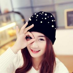 Gracesummer New Winter Hat For Women With Pearl Knitting Cap Beanies Skullies Fashion Bonnet Wool & Solid 1piece China Beanie Cotton Blends,wool Spring/antumn/winter Lj011 Newfashion001 Black/gray Adult Fashion/keep Warm/gift