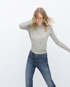 Image 2 of KNIT JERSEY WITH SLEEVE SLITS from Zara