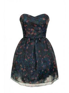 Robe courte bustier tutu noire imprimée fleurs Nafnaf - ClicknDress