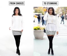 Instead of a basic, hip-length sweater, try layering a cropped sweater over a woven top or blouse. Then switch out those basic black tights for a pair of over-the-knee socks. Layer a pair of sheer, nude tights underneath, and it will look like you are flashing a little bit of skin even though you will actually be completely covered up.