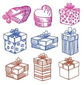 Set of vector Gift boxes. Doodle.
