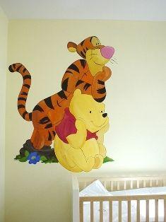 Winnie the Pooh handpainted wall mural I did in a nursery