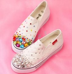Women College Canvas Rhinestone Sport Shoes Lace Up Sneakers Casual Trainers
