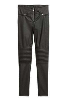 Leggings in stretch faux leather with quilted details on the knees. Low waist, extended waistband tab with concealed button, and fly with visible zip Biker Leggings, Biker Jeans, Leather Leggings, Black Leggings, H&m Online, Best Mom, Mom Style, Fashion Online, Black Women