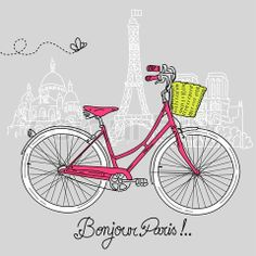 Vector of 'Riding a bike in style, Romantic postcard from Paris' on Colourbox