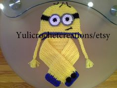 Minion crochet hat set for infant by YuliCrochetCreations on Etsy, $25.00