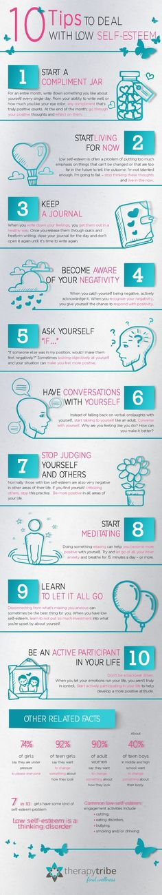 10 Tips to Deal with Low Self Esteem #Infographic #Health
