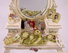 DIY Victorian Vanity Accessories—Take a Chrysonbon vanity set, misc. jewelry findings and stones, paints and printed articles and make a gorgeous filled vanity!