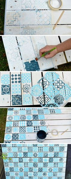 How to create a Moroccan tile style effect on painted wood pallet using a stencil.  To use as a wall planter.