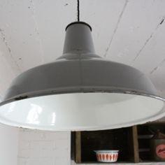 Vintage grey enamel industrial pendant light