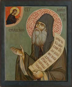 Saint Silouan the Athonite was born in 1866 in the Russian Empire to a peasant family. Near village where Saint Silouan was born, there. Orthodox Icons, Mythology Art, Byzantine Art, Paint Icon, Art, Greek Mythology Art, Cute Drawings, Angel Art, Book Icons