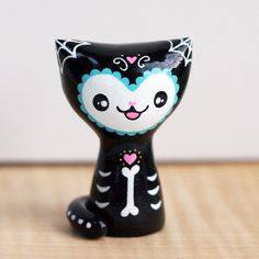 Day of the Dead Cat Collectible Figurine - Blue Trim at shanalogic.com