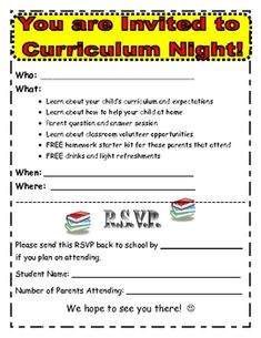 Parent involvement activities tpt misc lessons pinterest curriculum and parent night altavistaventures Images